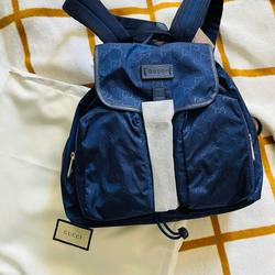 Gucci Bags | Gucci Nylon Gg Ssima Backpack Rucksack Purse Bag | Color: Blue | Size: Os