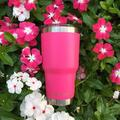 CHILLOUT LIFE 30 Oz Vacuum Insulated Stainless Steel Travel Tumbler w/ Handle & Straw Stainless Steel in Pink, Size 7.9 H x 5.8 W in | Wayfair