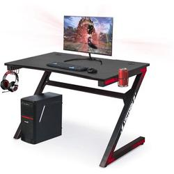 Inbox Zero Gaming Computer Desk 46 Inch Large Gaming Table Z Shape Black Racing Table Student Desk With& Headphone Hook For Adults Home Office Bedroom CompuWood
