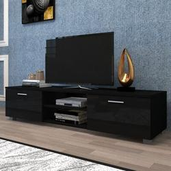 Latitude Run® TV Stand For 70 Inch TV Stands, Media Console Entertainment Center Television Table in Black, Size 17.7 H in | Wayfair