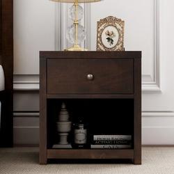 Red Barrel Studio® Vintage Aesthetic 1 Drawer Solid Wood Nightstand Sofa Nightstand in Brown, Size 25.0 H x 22.0 W x 17.0 D in   Wayfair