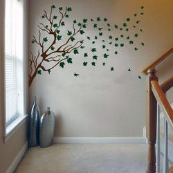 Red Barrel Studio® Tree Branch & Leaf Silhouette Vinyl Wall Words Decal Sticker Home Decor ArtVinyl in Gray, Size 62.0 H x 96.0 W in   Wayfair
