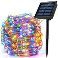 Arlmont & Co. Upgraded Solar String Lights Outdoor, Mini 33feet 100 Led Copper Wire Lights, Solar Powered Fairy Lights in Black | Wayfair
