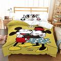 Haonsy Mickey Minnie Mouse Bedding Set King Size Kids Mickey Minnie 3D Cartoon Duvet Cover Comforter Set Yellow for Boys Girls 3 Pieces 1 Duvet Cover 2 Pillowcase, No Comforter