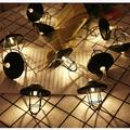 Vintage Lampshade String Lights,WONFAST 3M 20 LED Warm White Metal Lantern Cage Battery Operated Fairy String Lights Great for Home Patio Bedroom Garden Wedding Party Indoor Decoration (Black)