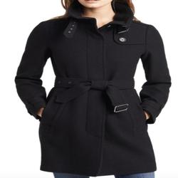 Burberry Jackets & Coats | Burberry Rushworth Belted Wool Blend Coat Size 2 | Color: Black | Size: 2