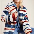 Anthropologie Jackets & Coats | Anthro Leona Faux Fur Blue Red Cozy Jacket Coat | Color: Red/White | Size: S