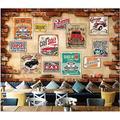 MAZF Custom Photo 3D Wallpaper European Retro Vintage Broken Brick Wall Classic car Room 3D Wall murals Wallpaper for Walls 3 d 300 cm (B) x 250 cm (H)