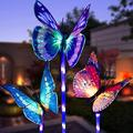 BALABER LED Solar Lights Outdoor, 3 Pack Solar Garden Butterfly Lights, Solar Stake Light with Waterproof Fiber Optic Butterfly Decorative Lights, Multi-Color Changing LED Solar Lights Garden