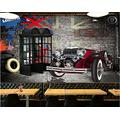 MAZF Custom Photo 3D Wallpaper Nostalgic English Telephone Booth Classic car Home Decor 3D Wall Mural Wallpaper for Living Room 250 cm (B) x 200 cm (H)