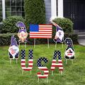 Jetec 8 Pieces 4th of July Yard Sign Outdoor Decoration Independence Day Gnome Garden Decoration Waterproof Yard Lawn Garden Sign Decor with Stake for Memorial Day Patriotic Home Party Supplies