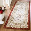 Safavieh Chelsea Oriental Hand Hooked Wool Ivory Area Rug Wool in Brown/White, Size 96.0 H x 30.0 W x 0.25 D in | Wayfair HK73A-28