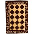 Safavieh Chelsea Geometric Hand Hooked Wool Brown/Ivory Area Rug Wool in Brown/White, Size 30.0 H x 20.0 W x 0.25 D in   Wayfair HK711B-2
