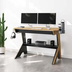 Inbox Zero Home Office Computer Writing Desk Workstation w/ Two Cupholders & A Headphone Hook- Pine Wood in Brown, Size 34.5 H x 50.0 W x 22.5 D in