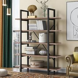 17 Stories 5-Tier Industrial Bookcase w/ Rustic Wood & Metal Frame, Large Open Bookshelf For Living Wood in Brown, Size 70.0 H x 47.2 W x 11.5 D in