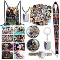 Kids Anime Attack on Titan Manga Gift Set, Including 8pc Attack on Titan Poster, Stickers, Keychain, Drawstring Bag Backpack, Lanyard