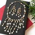 Anthropologie Jewelry | Boho Shell Wood Stones Necklace Earrings Set | Color: Cream/White | Size: Os