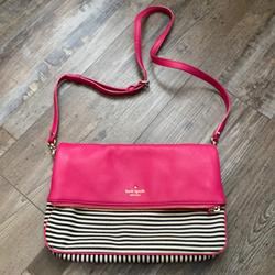 Kate Spade Bags   Kate Spade Fold Over Pink Leather Purse   Color: Black/Pink   Size: Os