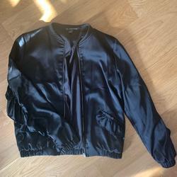 Zara Jackets & Coats | Black Satin Bomber Jacket With Ruffle Trim | Color: Black | Size: Xs
