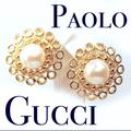 Gucci Jewelry | Vintage Paolo Gucci Pearl & Gold Earrings | Color: Gold/White | Size: 1.5 Diameter