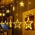 Solar String Lights Outdoor,AMZSTAR 138 LED Star Moon Patio Lights,Window Lights with 8 Modes Waterproof Star String Light for Garden Patio Home Christmas Holiday Decoration (Warm White, Star)