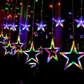 Solar String Lights Outdoor,AMZSTAR 138 LED Star Moon Patio Lights,Window Lights with 8 Modes Waterproof Star String Light for Garden Patio Home Christmas Holiday Decoration (Multicolor, Star)