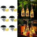 10 Pack 20 LED 2m Solar Wine Bottle Lights with Cork, Waterproof Solar Bottle Lights Cork Lights Fairy Light Strings for Wedding Holiday Garden Patio Pathway Decorative (Bottles Not Included)