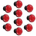 10Pcs 35mm Red Mushroom-Shaped Crystal Door Knobs Glass Drawer Knobs Decorative Crystal Door Handles Diamond Pulls with Screws for Home Office Cabinet Drawers