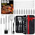 BBQ Grilling Accessories Tools for Outdoor Grill, BASEIN BBQ Girll Smoker Accessories Utensils Set with Carry Bag, 22PCS Barbeque Grill Accessories Tools Kit for Camping Kitchen Grilling Gifts for Men