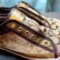 Coach Shoes | Coach Logo No Lace Sneakers | Color: Brown/Gold | Size: 9.5