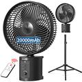 OPOLAR 20000mAh Oscillating Battery Rechargeable Fan w/Remote, 10 Inch Cordless Battery Operated Fan for Camping Hurricane, Portable Outside Pedestal Fan, Super Strong, Timer, 7 Speeds, Lasts 50 Hrs