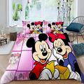 Mickey Minnie Mouse Cartoon Anime Star Bedspread Duvet Cover Sets 3 Pieces Bedding Sets 3 Size Easy Care Bedding Cover Bedding 3 Piece Duvet Cover Set Queen Size