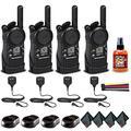4 x Motorola CLS1410 UHF 1 W 4-Channel 2-Way Radio (CLS1410) + 4 x HKLN4606 Remote Speaker Mic + Mic Sanitizer Spray + 4 x Microfiber Cloth + Velcro Straps - 4 Pack with Mic Bundle