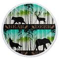 Meet 1998 Round Beach Towel with Tassels Bear Reindeer Wolf Elephant Large Absorbent Super Water Beach Pool Blanket, Forest Pine Trees Soft Multi-Purpose Picnic Yoga Mat 59 inch