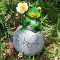 SIZHINAI Green Frog Sitting Statue, Green Frog Ormament Durable Washable Water-Proof Garden Ormament for Counrtyard Entrance Living Rooom