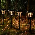6 Pack Solar Lights Bright Pathway Lights Solar Yard Lights Garden Stake Glass Stainless Steel Waterproof Auto On/Off Wireless Sun Powered Landscape Lighting for Yard Patio Walkway Spike Pathway…