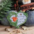 Indoor or Outdoor Sculpture Decoration Garden Ornaments Heart Shaped Rustic Garden Wall Hanging Art Decoration Ornament Cement Plaque Decorative Sculptures for Lawns and Yards (Color : A)