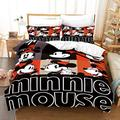 Kiusad Mickey Minnie Mouse Comforter Cover Sets Twin Size Mickey Minnie Bedding Duvet Cover Bed Sets for Boys Girls 2PCS 1 Duvet Cover 1 Pillowcase