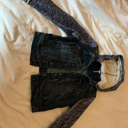 Free People Jackets & Coats   Free People Knit Hooded Denim Jacket Blue Jean   Color: Blue   Size: Xs