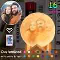 Lampe led en forme de lune avec Photo/texte personnalisé, impression 3D, Rechargeable par USB, 16