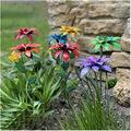 SUNTIRC 7PCs Metal Daylily Flower Garden Stakes Flower Garden Stake Decor Floral Garden Stake Decor Crafts Plant Pick Water Proof Metal Flower Stick DÉCor for Garden Lawn Yard Patio