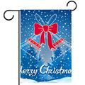 YATELI Garden Yard Flag 28x40 inch Merry Christmas Bells Snowfall Spruce Forest Double-Sided Banner for House Home Outdoor Party Decor