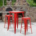"""Flash Furniture Commercial Grade 23.75"""" Square Red Metal Indoor-Outdoor Bar Table Set with 2 Square Seat Backless Stools"""