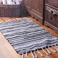 Sysyrqcer Hand-Woven Tassel Carpet Northern Europe Bedroom Carpet Cotton Linen Kitchen Mats Bathroom Doormat Absorbent Rug Area Rug (Color : D, Size : 70×120cm)