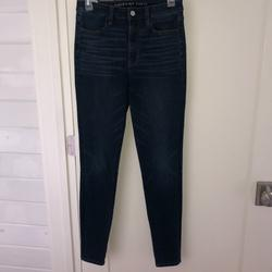 American Eagle Outfitters Jeans   American Eagle Super Hi-Rise Jegging Jeans 6 Long   Color: Blue   Size: 6