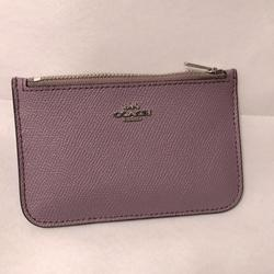 Coach Bags | Coach Card Case Card Holder With Zip | Color: Purple/Silver | Size: Os