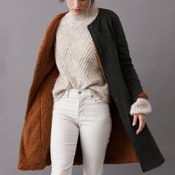 Anthropologie Jackets & Coats | Htf Pilcro Reversible Sherpa Denim Duster Coat | Color: Black/Brown | Size: L