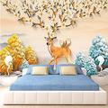 Glfeng Custom Photo Wallpaper 3D Stereo Relief Deer Tree Murals Living Room Dining Room Modern Creative Background Wall Cloth Wallpaper-200cmx140cm