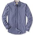 CQR Men's Regular Fit Long Sleeve Shirts, 100% Cotton Button-Up Casual Poplin Shirt, Poplin(tol503) - Magnetic Blue, Large