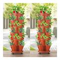 Stand Stacking Planters Strawberry Planting Pots,6-Tier Vegetable Melon Fruit Planting Pot with 1 Base Stackable Plastic Strawberry Planter Stereoscopic Gardening Indoor/Outdoor Garden Pot